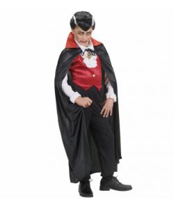 Mantello Nero in Raso (con colletto rosso 110 cm)