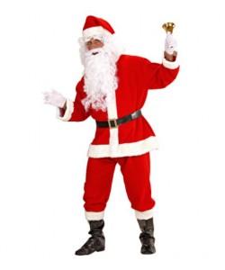BABBO NATALE SUPER LUSSO (casacca, pantaloni, cintura, cappello, copristivali, parrucca, barba con baffi, sopracciglia)
