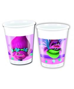 Bicchiere plast. 200 ml Trolls 8 pz