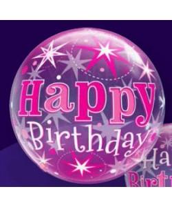 Bubble happy birthday pink