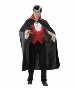 Mantello Nero in Raso (con colletto rosso 136 cm)