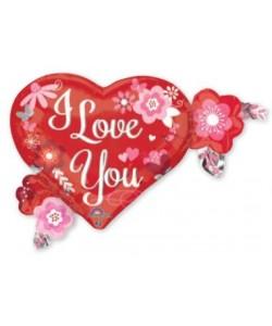 FoilI Love You Herat e Flowers