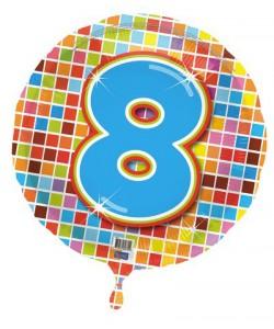 Pallone foil Nr 8 Quadratini 45 cm