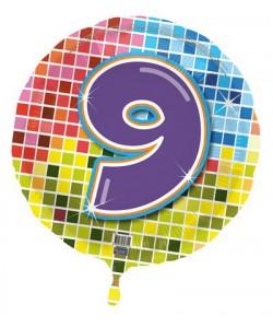 Pallone foil Nr 9 Quadratini 45 cm