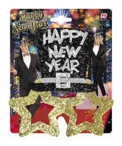 OCCHIALI HAPPY NEW YEAR GLITTER ORO