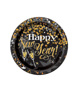 Piatto Carta Happy New Year 22 cm 8 pezzi