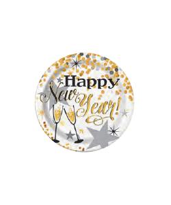 Piatto Carta Happy New Year 17 cm 8 pezzi