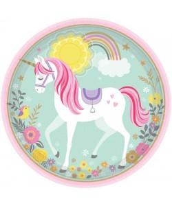 Piatto carta Magical Unicorn 23 cm 8pz