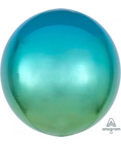 Pallone foil Ombré ORBZ 38 x 40 cm Blu e Verde 1 pz