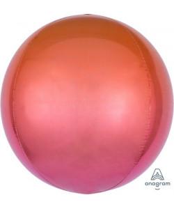 Pallone foil Ombré ORBZ 38 x 40 cm Rosso e Arancio 1 pz