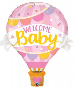 Foil Mongolfoera welcome baby rosa