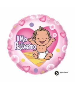 Pallone foil Battesimo bimba 45cm