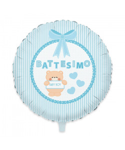 Pallone foil Battesimo Teddy Azz 45 cm