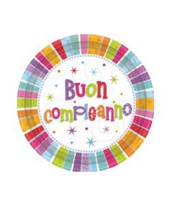 Piatto Buon Compleanno Radiant 8 pz 18cm