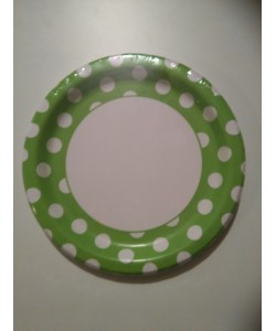 Piatto carta Lime Green Pois 8 pz 22cm