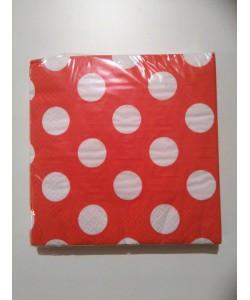 Tovagliolo Ruby Red Pois 16 pz 33 x 33 cm