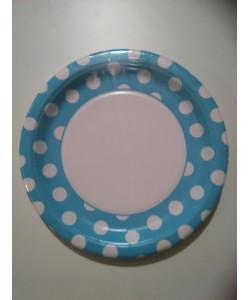 Piatto carta Powder Blue Pois 8 pz 22cm