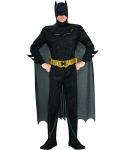 Batman (tuta con muscoli, maschera, mantello, cintura, copristivali)