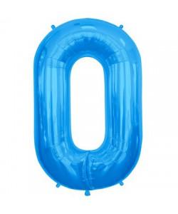 Pallone foil numero 0 blu 40 cm