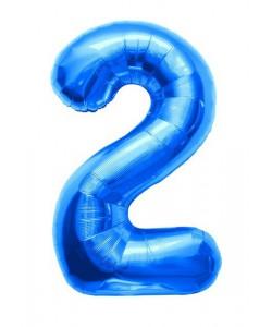 Pallone foil numero 2 blu 40 cm