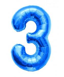 Pallone foil numero 3 blu 40 cm