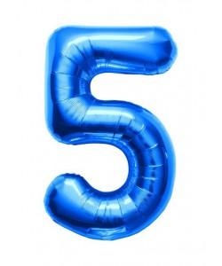 Pallone foil numero 5 blu 40 cm