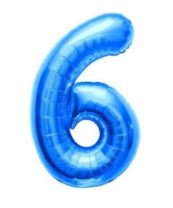 Pallone foil numero 6 blu 40 cm