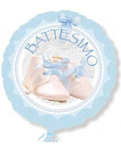 Pallone foil battesimo Azzurro