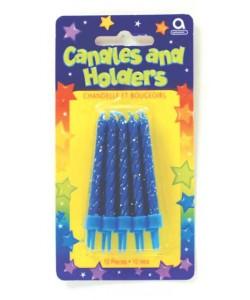 Candele Blu Glitterate (10 pezzi)