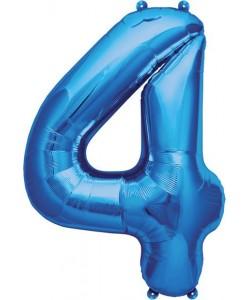 Pallone foil numero 4 blu 40 cm