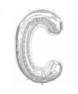 Pallone foil  lettera C argento 86 cm