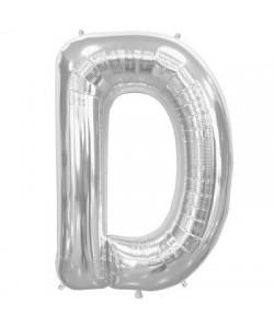Pallone foil  lettera D argento 86 cm